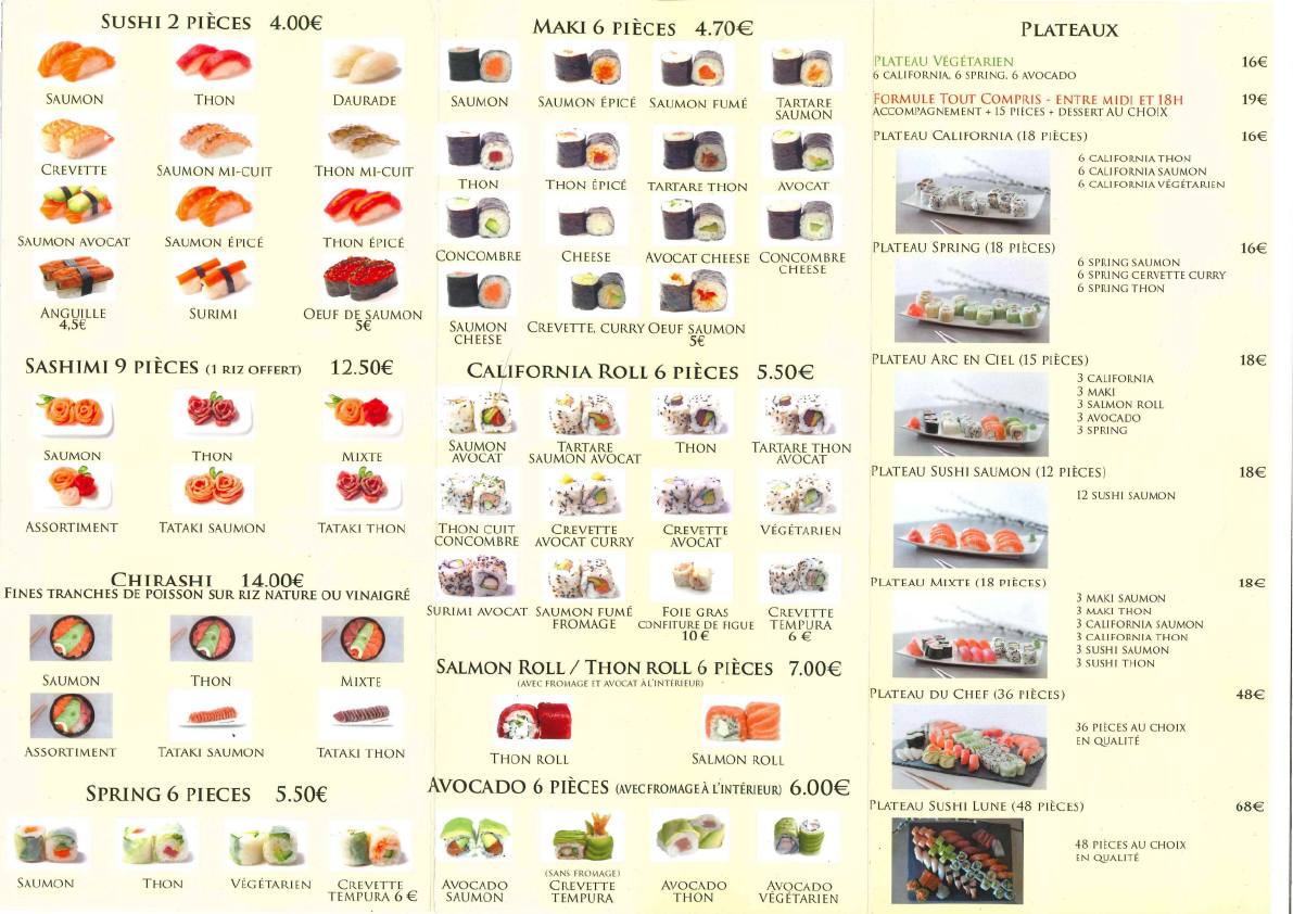 Carte Sushi Lune